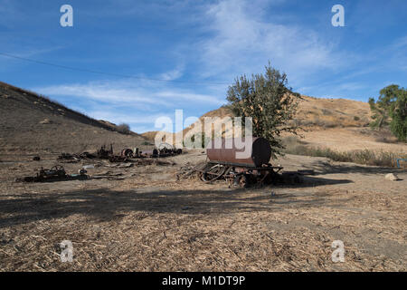 Abandoned farm equipment and farmland, Mentryville, Pico Canyon, LA County