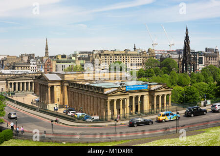 EDINBURGH, SCOTLAND - JUNE 12, 2015:  View towards Scottish National Gallery and Scott Monument from a high point - Stock Photo