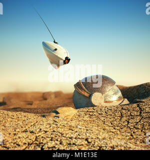 white robot drone hovering over obsolete space helmet in cracked desert on other planet. sci-fi concept 3d render - Stock Photo