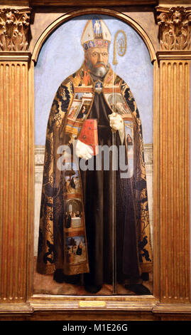 St. Augustine of Hippo (354-430) Part of a polyptych by Piero della Francesca. C. 1454 , tempera on poplar panel. - Stock Photo