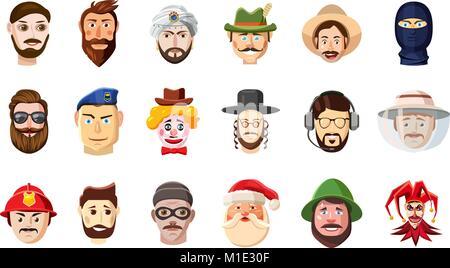 Man head icon set, cartoon style