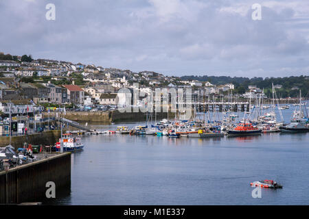 The historic Falmouth Harbour is the third deepest natural harbour in the world, the deepest in Western Europe - Stock Photo