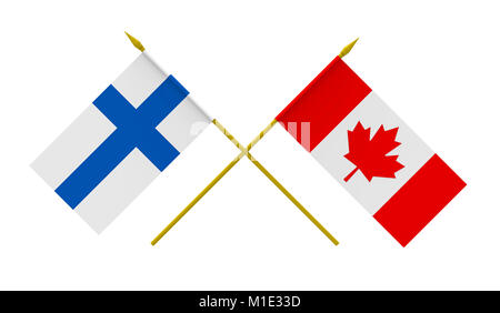 Flags of Canada and Finland, 3d render, isolated on white - Stock Photo