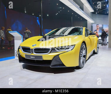 FRANKFURT, GERMANY - SEP 17, 2017: BMW i8 - plug-in hybrid electric car at International Motor Show - Stock Photo