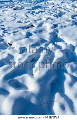 Shadows on snow covered blocks of ice in winter Little Rouge Creek in Rouge National Urban Park Toronto Ontario - Stock Photo