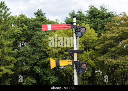 British Railway Semaphore Signalling post (in Japan). Red sign signals for train to 'stop'. Yellow signal is a 'distant' - Stock Photo