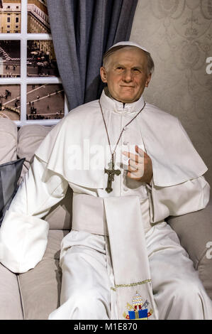 Wax statue of Pope John Paul II at the Krakow Wax Museum - Cracow, Poland. - Stock Photo