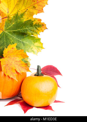 Autumn vertical edge  border with pumpkins and Autumn leaves, space - Stock Photo