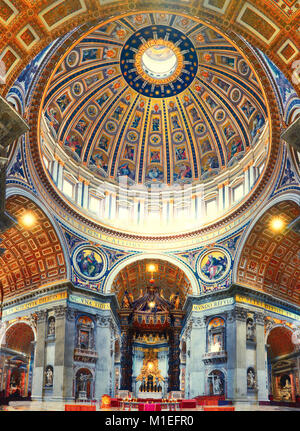 Interior of St. Peters Basilica in Rome, Italy, panoraic image - Stock Photo