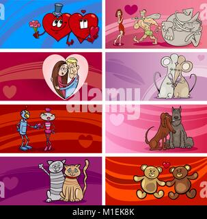Cartoon Illustration of Greeting Cards Designs with People and Animal Characters in Love and Valentines Day Themes - Stock Photo
