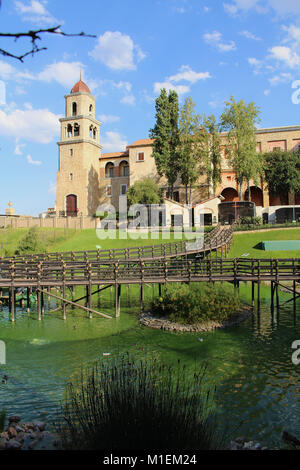 Bird park and building of Monte Casino in South Africa - Stock Photo