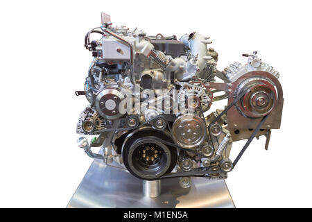 Front view of modern internal combustion engine of the truck - Stock Photo