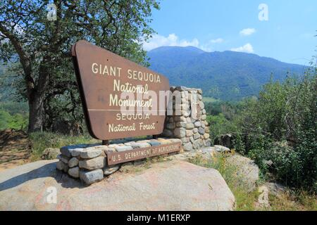SPRINGVILLE, UNITED STATES - APRIL 12, 2014: Entrance sign to Giant Sequoia National Monument in California. National - Stock Photo