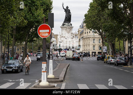 View of the Marianne statue at the Place de la Republique in Paris, France - Stock Photo