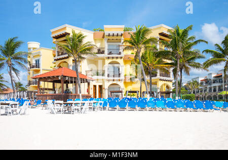 Playa Del Carmen, Mexico, Tourist facilities on the beach - Stock Photo