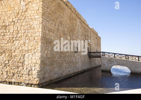Pafos, Greece, Cyprus island, view of the Fort in the marina area - Stock Photo
