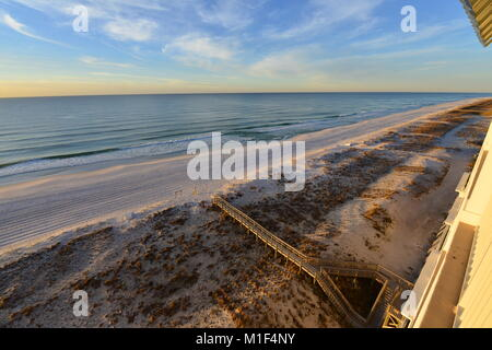 Beach at Pensacola on a winters morning - Stock Photo