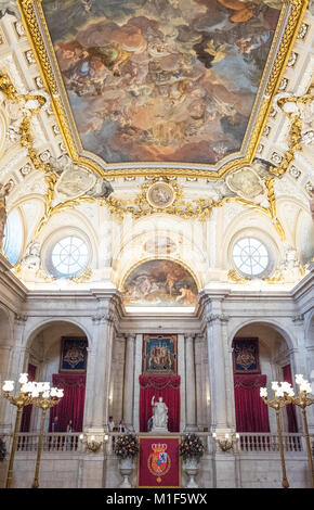 Madrid, Spain,  Royal Palace, the fresco depicting by Tiepolo in the ceiling of the Halberdiers' Room - Stock Photo