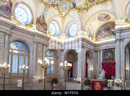 Madrid, Spain, The Halberdiers' Room of the Royal Palace - Stock Photo