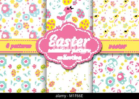 Cute easter seamless pattern set with nestling, rabbit, eggs, flowers. Spring collection repeating textures. Children, - Stock Photo