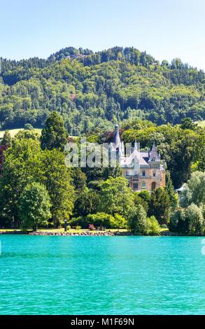 Thun, Switzerland,  The Schadau castle on the Thun lakeside - Stock Photo