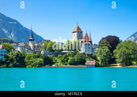 Spiez, Switzerland, View of the country with the castle on the Thun lake - Stock Photo