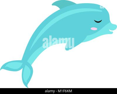 Cute dolphin icon, flat, cartoon style. Isolated on white background. Vector illustration. - Stock Photo