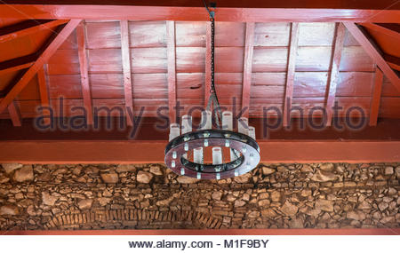 Tavern of the '7 Juanes' (7 Johns) colonial architectural features of the main hall. The historic building is in - Stock Photo