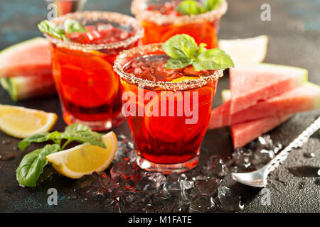 Refreshing cold citrus watermelon and basil margarita - Stock Photo