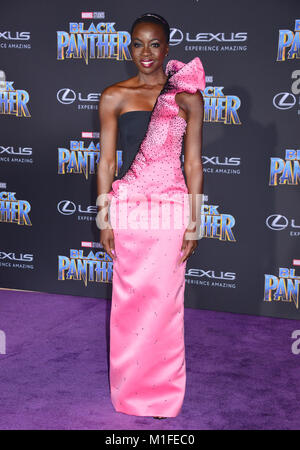 Los Angeles, USA. 29th Jan, 2018. Danai Gurira 135 attends the premiere Of Disney and Marvel's 'Black Panther' at - Stock Photo