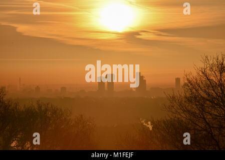 Alexandra Palace, London, UK. 30th Jan, 2018. UK Weather. Sunrise over London from Alexandra Palace. Credit: Matthew - Stock Photo