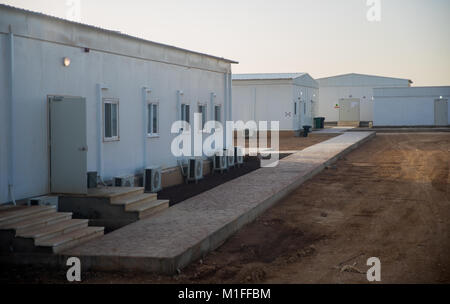 Picture of the Bundeswehr's (Federal Armed Forces) newly-built field camp taken in the Al-Azrak air base in Jordan, - Stock Photo