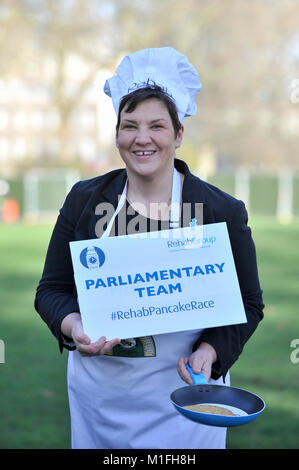 London, UK. 30th Jan, 2018. Tonia Antoniazzi MP for the Parliament Team, takes part in a pancake race bootcamp in - Stock Photo