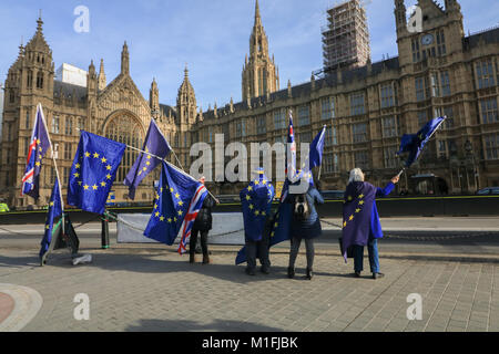 London, UK. 30th Jan, 2018. A daily protest against Brexit opposite the Houses of Parliament by Steve Bray, a 48 - Stock Photo