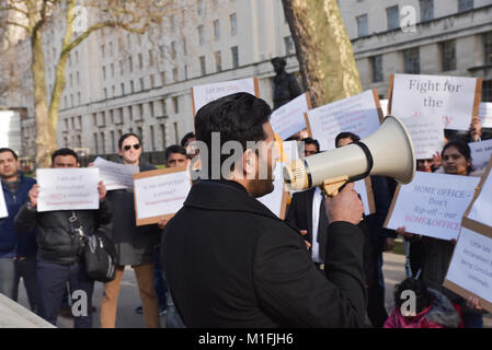 Whitehall, London, UK. London, UK. 30th January 2018. Protest  opposite Downing Street by: Highly Skilled Against - Stock Photo