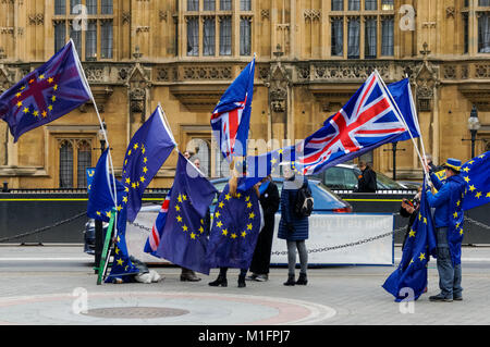 Anti-Brexit protesters demonstrate outside the Houses of Parliament in London, England, United Kingdom, UK - Stock Photo