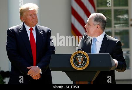 Washington, United States. 30th Jan, 2018. FILE PHOTO: U.S. President Donald Trump listens to EPA Administrator - Stock Photo