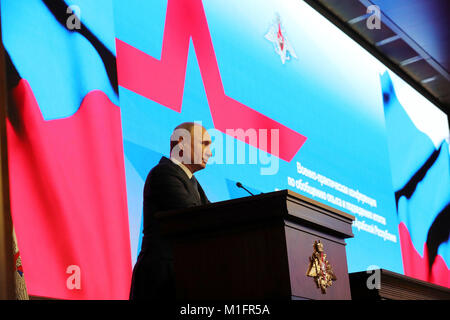 Moscow, Russia. 30th Jan, 2018. Russian President Vladimir Putin speaks during a conference on the Syrian operation - Stock Photo