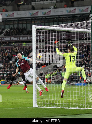 London, UK. 30th January 2018. Christian Benteke scores to make it 0-1 during the Premier League match between West - Stock Photo