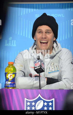 St Paul, Minnesota, USA. 29th Jan, 2018. TOM BRADY of the New England Patriots gives an interview at the official - Stock Photo