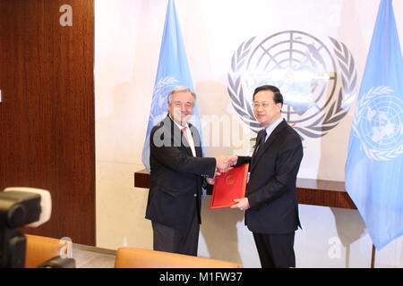 UN, New York, USA. 30th Jan, 2018. China's new Ambassador to the UN Ma Zhaoxu presented his credentials to UN Sec - Stock Photo