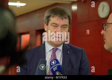 Munich, Germany, 30th Jan 2018. Markus Soeder, German politician and party member of the CSU party. Bavarian State - Stock Photo