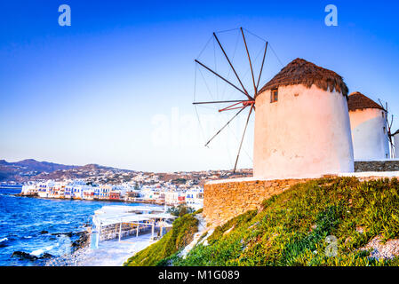 Mykonos, Greece. Windmills Kato Mili are iconic feature of the Greek island of the Mikonos, Cyclades Islands. - Stock Photo