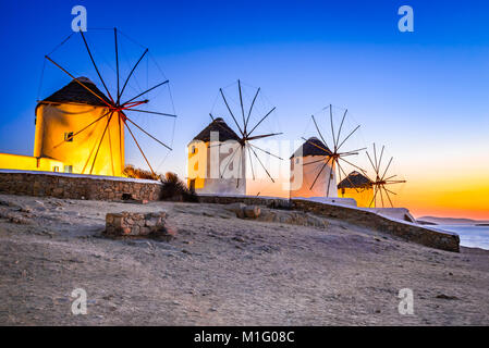 Mykonos, Greece. Kato Mili are iconic windmill of the Greek island of the Mikonos, Cyclades Islands. - Stock Photo