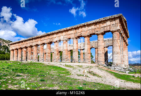 Segesta, Italy. Ancient greek temple of Saegesta, doric architecture in Sicily, Graecia Magna. - Stock Photo