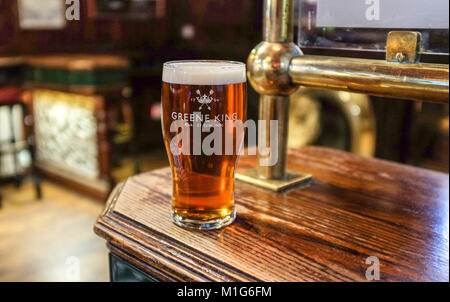 Leeds Yorkshire UK - Pint of real ale beer in a Greene King glass - Stock Photo
