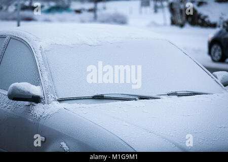 Car covered in frost - Stock Photo