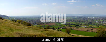 Panoramic view from Selsey Common towards the River Severn and the Forest of Dean over a patchwork of fields in - Stock Photo