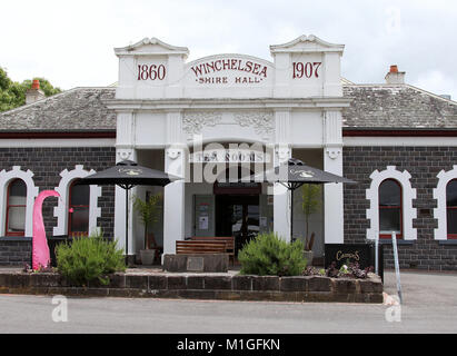 Historic Winchelsea Shire Hall which is now a tearoom - Stock Photo