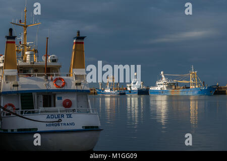 The Last sun before rainclouds are coming in,  habour of Hoernum or Hörnum, on the island of Sylt, North Sea, Schleswig-Holstein, Germany, Europe